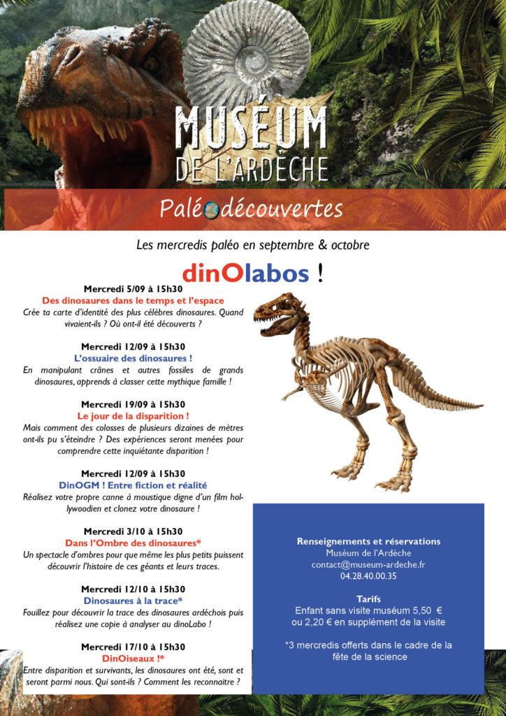 Dino Labos – Les Mercredis Paléo en septembre et octobre